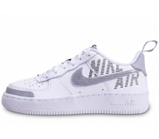 Chaussures Nike Air Force 1 Under Construction blanche et grise junior