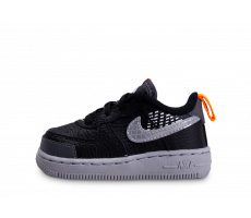 Chaussures Nike Air Force 1 Under Construction noire orange bébé