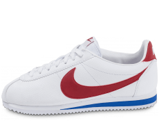 Chaussures Nike Cortez Leather Blanche rouge et bleue