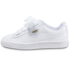 218e1065025 Chaussures Puma Basket Heart Patent Junior blanche