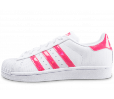 Chaussures adidas Superstar junior blanche et rose iridescent