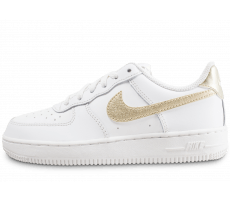 Chaussures Nike Air Force 1 Low enfant blanc et or