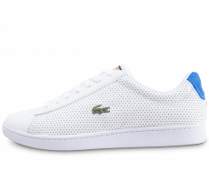 Chaussures Lacoste Carnaby Evo blanche et bleu turquoise