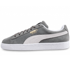 Chaussures Puma Suede Classic grise et blanche