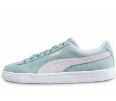 Chaussures Puma Suede Classic bleu turquoise et blanche