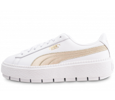 Chaussures Puma Platform Trace Varsity Wns blanche et or femme