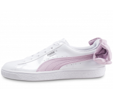 Chaussures Puma Basket Bow blanche et rose