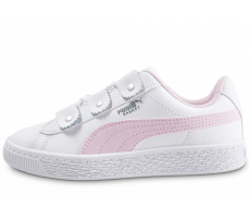 Chaussures Puma Basket Loops blanche et rose