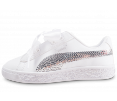 Chaussures Puma Basket Heart Bling blanche enfant