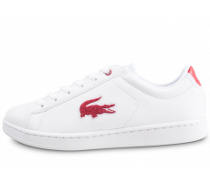 Chaussures Lacoste Carnaby Evo blanche et rouge junior