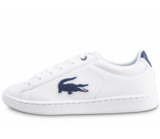 Chaussures Lacoste Carnaby Evo blanche et bleue enfant