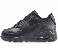 Chaussures Nike Nike Air Max 90 Leather Pre-School noire enfant