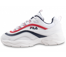 Chaussures Fila Ray Low blanche bleue et rouge femme