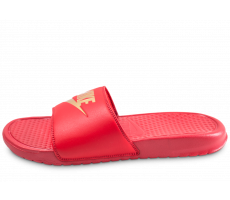 Chaussures Nike Sandales Benassi Just Do It rouge et or