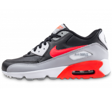 Chaussures Nike Air Max 90 Leather noire et rouge junior