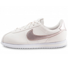 Chaussures Nike Cortez Basic blanche et or rose junior