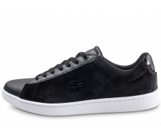 Chaussures Lacoste Carnaby Evo velours noire et blanche