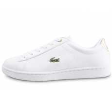Chaussures Lacoste Carnaby Evo blanche et or junior
