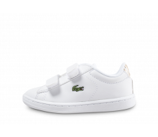 Chaussures Lacoste Carnaby Evo blanche et or bébé