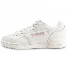 Chaussures Reebok Workout Lo Plus blanche et rose femme