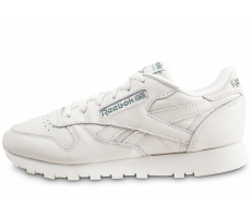 Chaussures Reebok Classic Leather blanche et verte femme