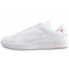 Chaussures Lacoste Carnaby blanche et rose femme