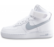 Chaussures Nike Air Force 1 High blanche et argent
