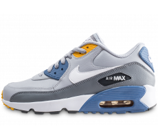 Chaussures Nike Air Max 90 Leather grise et bleue junior