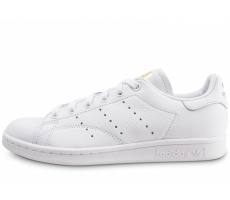 Chaussures adidas Stan Smith blanche lila et or femme