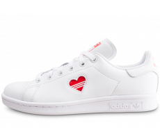 Chaussures adidas Stan Smith blanche et rouge femme