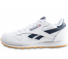 Chaussures Reebok Classic Leather blanc et bleu marine junior