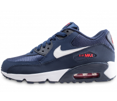 size 40 7eaa1 8e063 Chaussures Nike Air Max 90 Mesh bleue et rouge junior