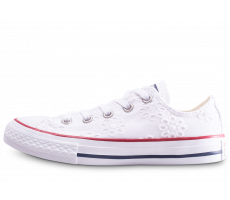 Chaussures Converse Chuck Taylor All Star enfant basse blanche broderie